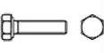 Болт с шестигранной головкой с метрической мелкой и супермелкой резьбой